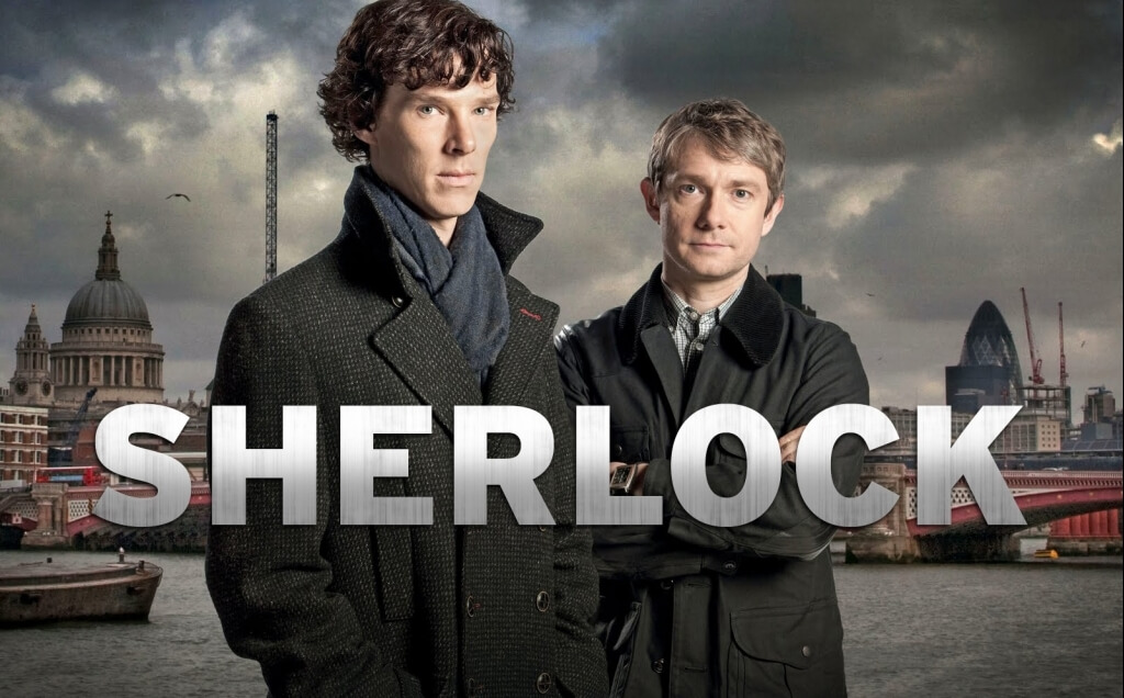 Sherlock fra BBC - Med Benedict Cumberbatch og Martin Freeman som Holmes og Watson
